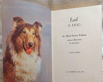 LAD A DOG Book 40th Anniversary Ed 1959 by Albert Terhune, Illustrated Collie Adventures Story Sam Savitt hc Tween Chapter Summer Read