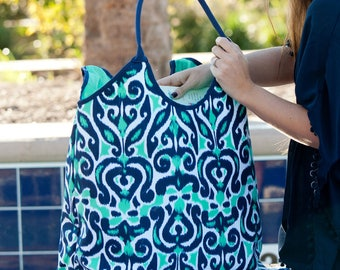 Mint and Navy Beach Tote - Round Beach Blanket - Monogrammed Beach Bag - Personalized Towel - Mint Beach Set - Beach Towel - Swim Cover Up