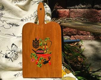 Kitschy Cutting Board Vintage Retro Wooden Farmhouse Chic Folk Art #2