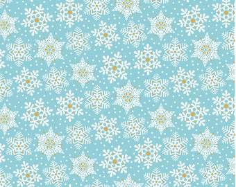 Snowflake Waltz - Land of Snow in Blue by Maude Asbury for Blend Fabrics
