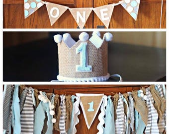 1st Birthday Burlap garland, high chair bunting and crown - perfect for photo shoots