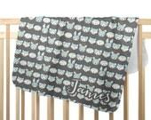 woodland animal baby blanket, sleepy animal stripe blue, blue and gray baby swaddle