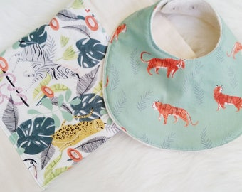 baby essential bib and burp cloth set, in the jungle + tigers, jungle nursery, jungle bib and burp cloth set