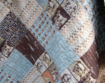 Dog Lovers Quilt.....A Patchwork Cuddle Flannel Backed Patchwork Quilt...Ready to Ship...50X58