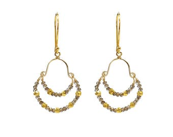 Gold and Smoky Quartz Double Hoop Earrings