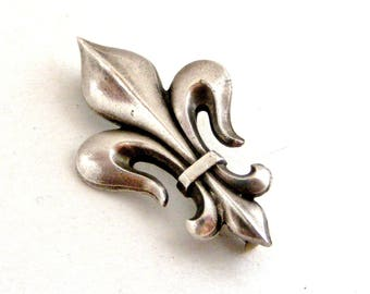 Antique French silver plated fleur de lis brooch