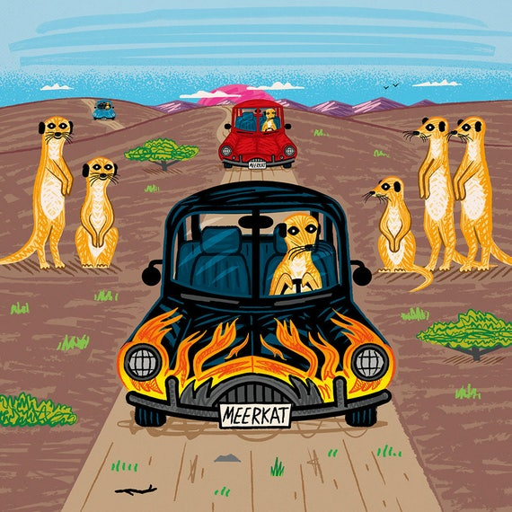 MeerCars - Children's art poster print by Oliver Lake - iOTA iLLUSTRATiON