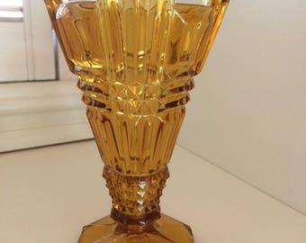 Sowerby Amber Celery Vase