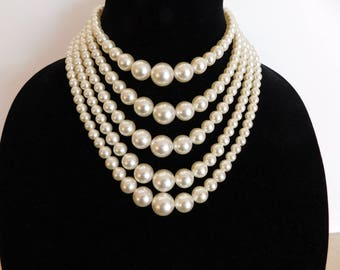 Stunning 5 Strand Faux Pearl Necklace - Glamorous and Great Condition