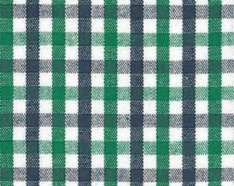 Fabric Finders Kelly green, Navy blue, White Check print - plaid - tri-check gingham T103 - cotton sewing quilting fabric - choose your cut