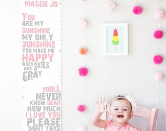 Custom/ Personalized You Are My Sunshine canvas growth chart in pink and gray- perfect nursery decor or baby shower gift!