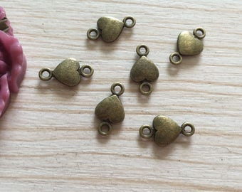 40 antique bronze mini heart connectors, heart pendant, mini heart Connector charm, heart necklace, Metal heart jewelry Components