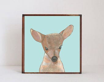 deer forest nursery decor,  woodland nursery, deer wall art- nursery art- rustic kids room decor- blue nursery- art block -redtilestudio