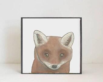 fox woodland nursery art, forest animal nursery prints, 5x5 wooden art block, baby animal print, forest decor, woodland animal redtilestudio
