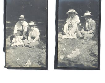 Four Vintage Photographs from Old Scrapbook - One on Each Side Happy Family Great Hats