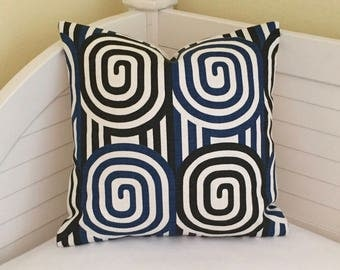 Quadrille China Seas Wavelength  in New Navy and Black Designer Pillow Cover - Square and Euro Sizes