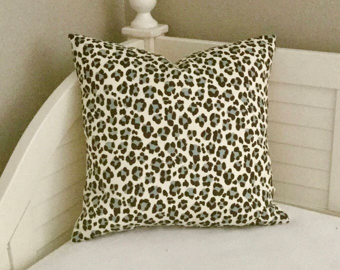 Quadrille China Seas Conga Line Animal Print in Blue and Brown Designer Pillow Cover - Square and Lumbar Sizes