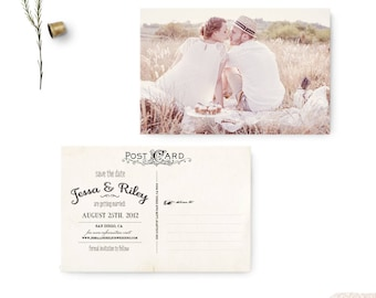 """Vintage save the date postcard, 4x6, Save the date card, Unique save the date ideas - the """"Jessa"""""""