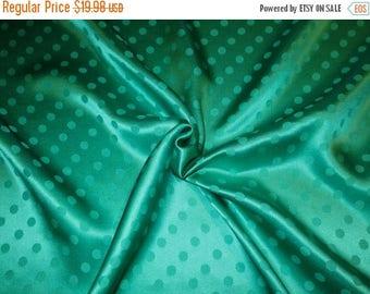 ON SALE Jade Green Polka Dot Design Pure Silk Jacquard Fabric--One Yard