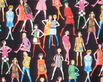 ON SALE Colorful Mod Sixties Girls Print Pure Cotton Fabric from Makower--One Yard