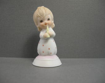 vintage Lefton figurine, 1982, small porcelain The Christopher Collection, little blonde girl holding candle, 03426