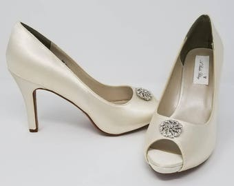 Ivory Wedding Shoes Ivory Bridal Shoes with a Sparkling Crystal Swirl Design -  Over 100 Colors To Pick From