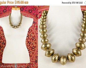 MOVING SALE 70's Beaded Brass Orb Necklace Disc Beads Necklace Chunky Metal Bib Necklace Tribal Necklace Bohemian Necklace Artsy Avant Garde