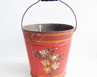 Vintage Tin Pail, Old Primitive Painted Pail, Antique Bucket
