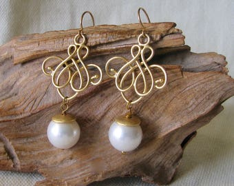 gold filigree and pearls drop earrings