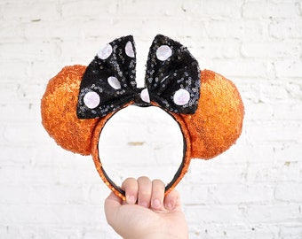 Halloween Orange Black Sequin Polka Dot Mickey Mouse Ears Minnie Mouse Ears