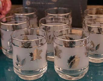 Set of 8 Libbey Hostess Silver Foliage Glasses