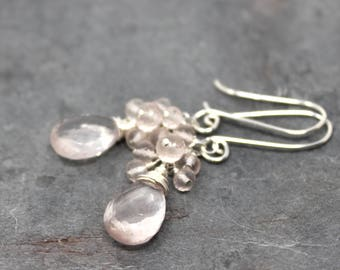 Cluster Rose Quartz Earrings Delicate Beaded Pale Pink Gemstone Earrings Sterling Silver