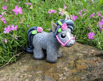 Dapple Grey Polymer Clay Pony Sculpture