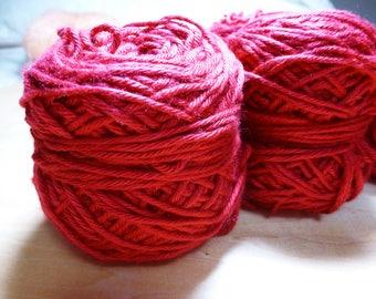 Destash - Ella Rae Bamboo Silk Yarn 5 Skeins in Crimson Red Worsted Weight Discontinued Yarn