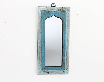 Moroccan Mirror Vintage Wood Framed Mirror Reclaimed Wood Wall Art Blue Green Turquoise Wall Mirror Moroccan Decor Turkish