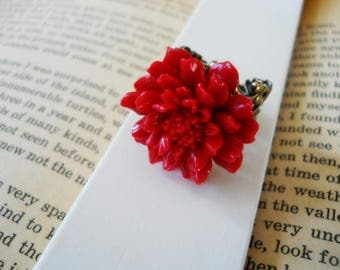 40% OFF SALE! Red Flower with Antiqued Brass Filigree Ring