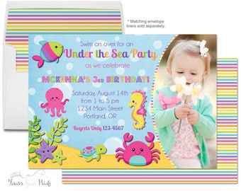 Under The Sea Invitations - Under The Sea Party Invite - Under The Sea Birthday - Under The Sea Invite - Girls Birthday Invitation