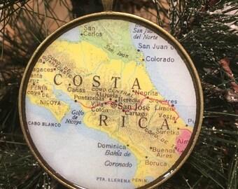 Costa Rica Map Christmas Ornament, HONEYMOON Gift , Wedding Map Gift , Travel, Tree Ornament, coworker gift , custom gift