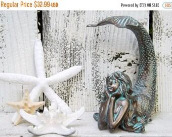ON SALE Mermaid Decor~Patina~Mermaid Sculpture~Mermaid home Decor