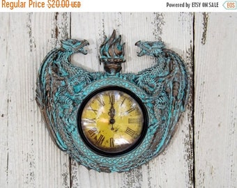 ON SALE Dragon Decor  /Fantasy /Game of Thrones / Dragon  Clock /Patina / Mid Evil / Gothic / Steam Punk