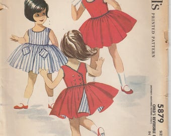 Reversible Dress Pattern 1961 Toddler Girls Size 2 Complete and Cut McCalls 5879 Vintage