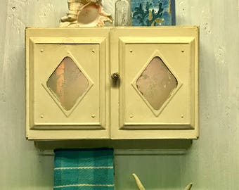Vintage Metal Medicine Wall Cabinet with Mirrored Doors and Towel Rack CastawaysHall READY TO SHIP