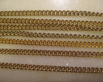 Brass Twist Curb Chain: General Purpose Jewelry Chain, True Vintage 1970 Unused Old Stock, American Made, 12 Pieces, 8 1/2 Inches Each Piece