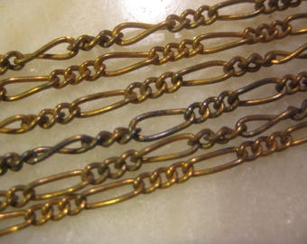 "Brass Figaro Chain, Mother and Son: General Purpose Jewelry Chain, Vintage 1970 Unused Old Stock, American Made, 12 Pieces, 15"" Lengths"