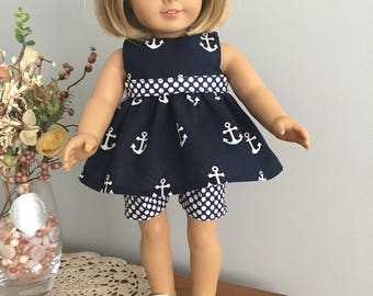American Girl Doll Clothes - Navy Blue and White Anchor Shorts Outfit