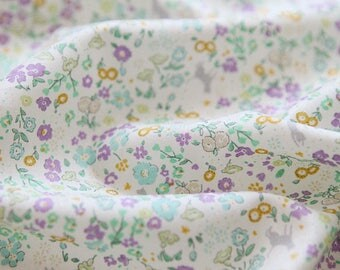 Petit Flowers and Cats Printed Cotton  by the yard (width 44 inches) 83648