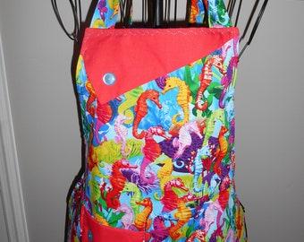 Colorful Seahorses - Women's Apron - Sea - Ocean - Pocket - Ruffle - Marine