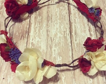 Floral Rose Crown: Fourth of July 4th + Girl or Adult + Tieback + Halo + Head wrap  + Photo Prop + Bridal + Headpiece + Festival Hair Piece