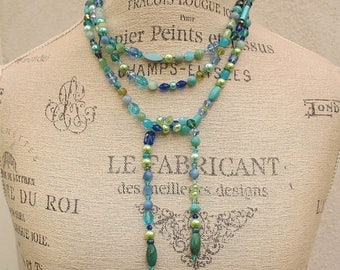Statement Necklace One of a Kind Lariat Necklace Bold Bohemian Blue Lime Green Turquoise Knotted Necklace Colorful Boho Chic Jewelry