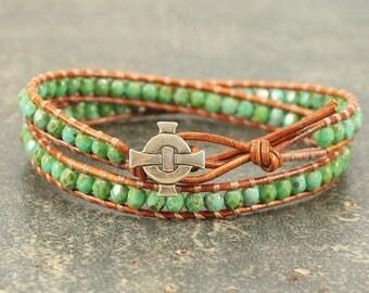 Celtic Cross Bracelet Silver Bronze Turquoise Green Celtic Cross Jewelry Unique Boho Beaded Leather Wrap Bracelet